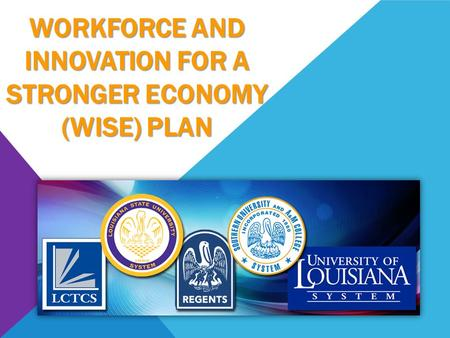 WORKFORCE AND INNOVATION FOR A STRONGER ECONOMY (WISE) PLAN.
