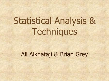 Statistical Analysis & Techniques Ali Alkhafaji & Brian Grey.