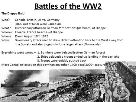 Battles of the WW2 The Dieppe Raid