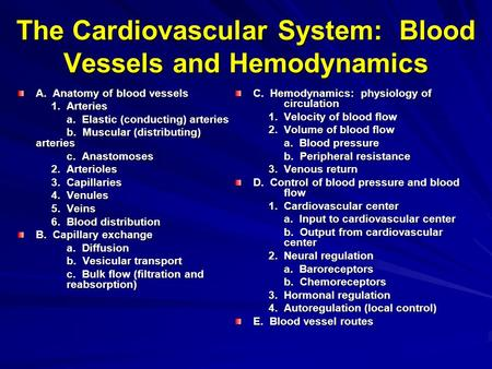 The Cardiovascular System: Blood Vessels and Hemodynamics