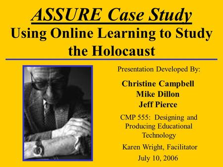 Using Online Learning to Study the Holocaust