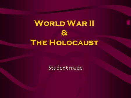 World War II & The Holocaust Student made. Nazis Vs. Jews Nazi - abbreviation for the National Socialist German Workers' Party that ruled Germany from.