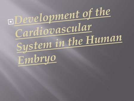  Development of the Cardiovascular System in the Human Embryo.