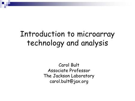Introduction to microarray technology and analysis