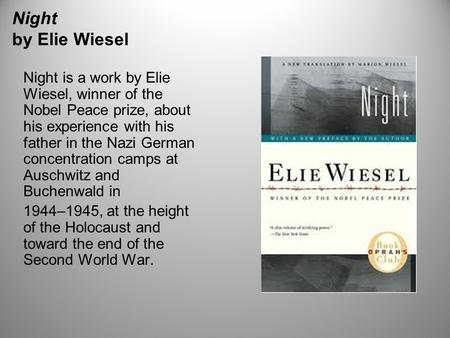 night by elie wiesel 6 essay Night by elie wiesel this book/movie report night by elie wiesel and other 63,000+ term papers, college essay examples and free essays are available now on reviewessayscom.