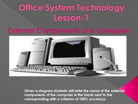 Given a diagram students will write the name of the external components of the computer in the blank next to the corresponding with a criterion of 100%