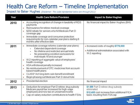 Health Care Reform Provision