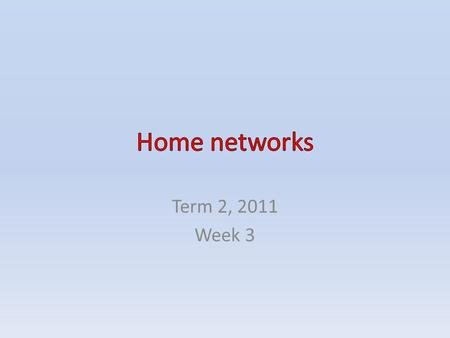 Term 2, 2011 Week 3. CONTENTS Home networks – Ethernet network – Phone line network – Power line network – Wi-Fi network Questions.