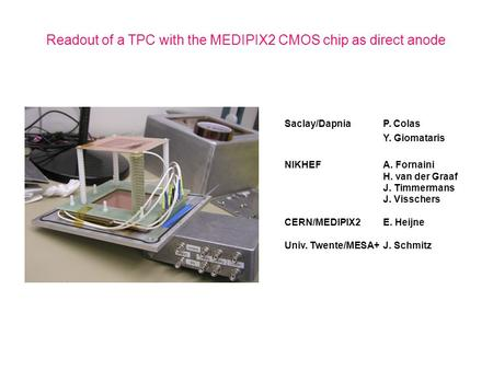 Readout of a TPC with the MEDIPIX2 CMOS chip as direct anode Saclay/DapniaP. Colas Y. Giomataris NIKHEFA. Fornaini H. van der Graaf J. Timmermans J. Visschers.