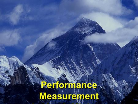 Performance Measurement in Youth Ministry Performance Measurement in Youth Ministry.