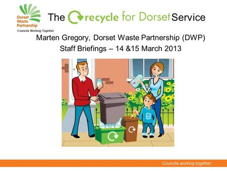 Marten Gregory, Dorset Waste Partnership (DWP) Staff Briefings – 14 &15 March 2013 Councils Working Together The Service.