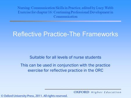 Reflective Practice-The Frameworks