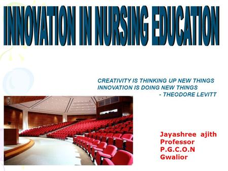 CREATIVITY IS THINKING UP NEW THINGS INNOVATION IS DOING NEW THINGS - THEODORE LEVITT Jayashree ajith Professor P.G.C.O.N Gwalior.