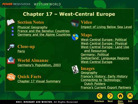 Chapter 17 – West-Central Europe