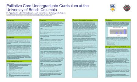 Palliative Care Undergraduate Curriculum at the University of British Columbia Background Philosophy Prior to 1997, palliative care curriculum content.