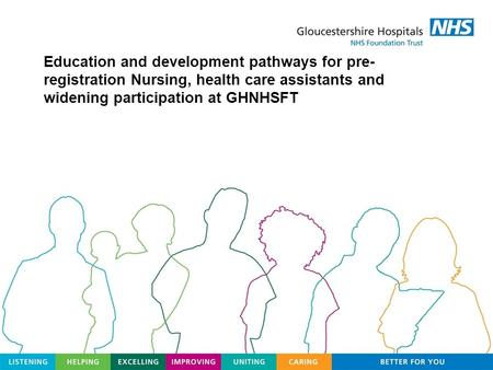 Education and development pathways for pre- registration Nursing, health care assistants and widening participation at GHNHSFT.