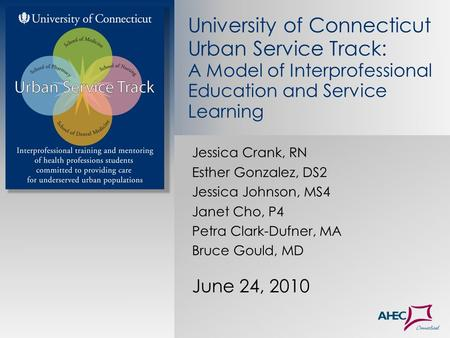 Jessica Crank, RN Esther Gonzalez, DS2 Jessica Johnson, MS4 Janet Cho, P4 Petra Clark-Dufner, MA Bruce Gould, MD June 24, 2010 University of Connecticut.