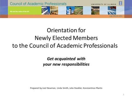 Orientation for Newly Elected Members to the Council of Academic Professionals Get acquainted with your new responsibilities Prepared by Liezl Bowman,