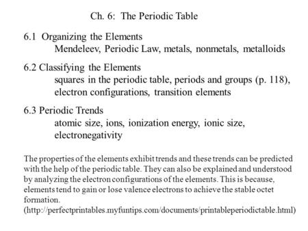 Ch. 6: The Periodic Table 6.1 Organizing the Elements 	Mendeleev, Periodic Law, metals, nonmetals, metalloids 6.2 Classifying the Elements 	squares in.