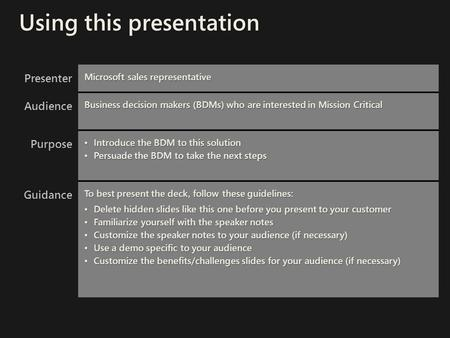 Presenter Microsoft sales representative Audience Business decision makers (BDMs) who are interested in Mission Critical Purpose Introduce the BDM to this.