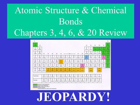 Atomic Structure & Chemical Bonds Chapters 3, 4, 6, & 20 Review JEOPARDY!