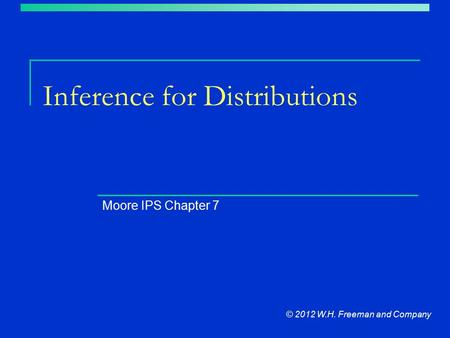 Inference for Distributions Moore IPS Chapter 7 © 2012 W.H. Freeman and Company.