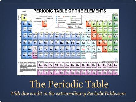 The Periodic Table The Periodic Table With due credit to the extraordinary PeriodicTable.com.