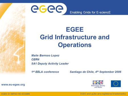 EGEE-II INFSO-RI-031688 Enabling Grids for E-sciencE www.eu-egee.org EGEE and gLite are registered trademarks EGEE Grid Infrastructure and Operations Maite.
