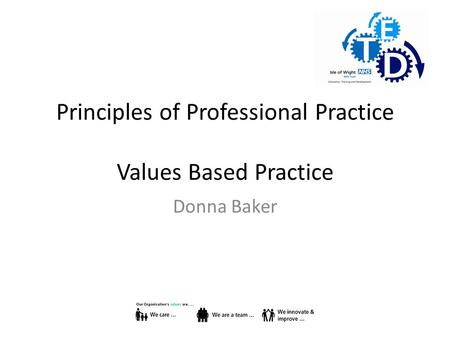 Principles of Professional Practice Values Based Practice Donna Baker.