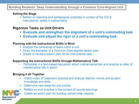 Building Students' Deep Understanding through a Common Core-Aligned Unit Setting the Stage  Reflect on planning and pedagogical practices in context of.