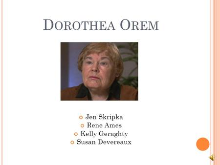 dorothea orems nursing theory essay
