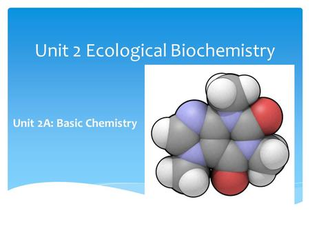 Unit 2 Ecological Biochemistry