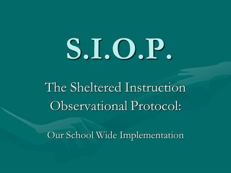 S.I.O.P. The Sheltered Instruction Observational Protocol: Our School Wide Implementation.