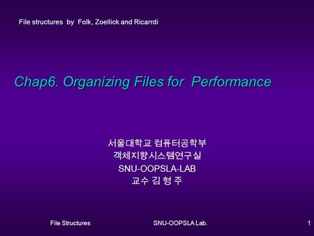 File StructuresSNU-OOPSLA Lab.1 Chap6. Organizing Files for Performance 서울대학교 컴퓨터공학부 객체지향시스템연구실 SNU-OOPSLA-LAB 교수 김 형 주 File structures by Folk, Zoellick.