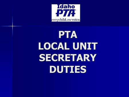 PTA LOCAL UNIT SECRETARY DUTIES