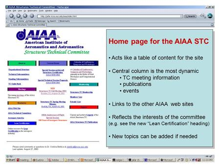 Home page for the AIAA STC Acts like a table of content for the site Central column is the most dynamic TC meeting information publications events Links.