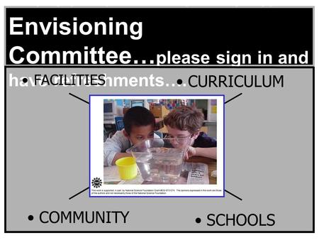 Welcome Environmental Envisioning Committee… please sign in and have refreshments…. FACILITIES CURRICULUM COMMUNITY SCHOOLS.