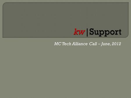 MC Tech Alliance Call – June, 2012. 1. QR Codes- Linking prospects from offline sources to online sources and monitoring traffic. 2. Quick Tips for KW.
