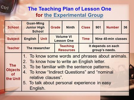 The Teaching Plan of Lesson One for the Experimental Groupthe Experimental Group School Guan-Ming Junior High School GradeNinthClass901Number36 SubjectEnglishUnit.