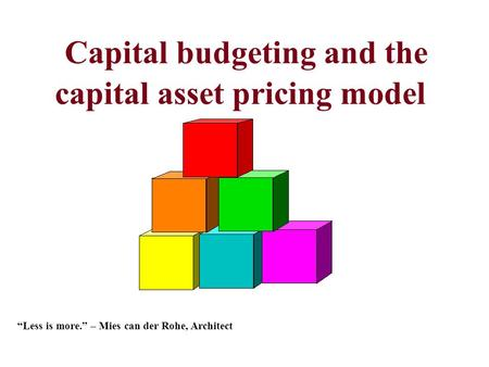 "Capital budgeting and the capital asset pricing model ""Less is more."" – Mies can der Rohe, Architect."