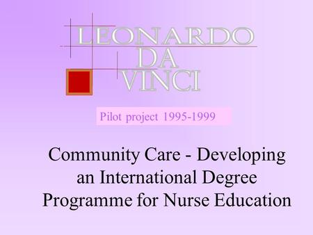 Community Care - Developing an International Degree Programme for Nurse Education Pilot project 1995-1999.