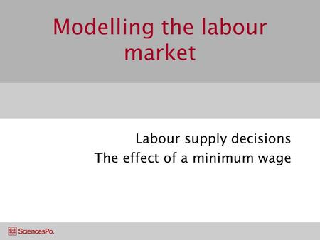 Modelling the labour market Labour supply decisions The effect of a minimum wage.