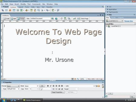 Welcome To Web Page Design Mr. Ursone. Accessing the Web Web Page: where you see text, graphics, sounds, etc. Web Page: where you see text, graphics,