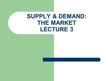 SUPPLY & DEMAND: THE MARKET LECTURE 3. INTRODUCTION TO SUPPLY & DEMAND Questions? Why does it cost thousands of dollars to buy a little stone known as.