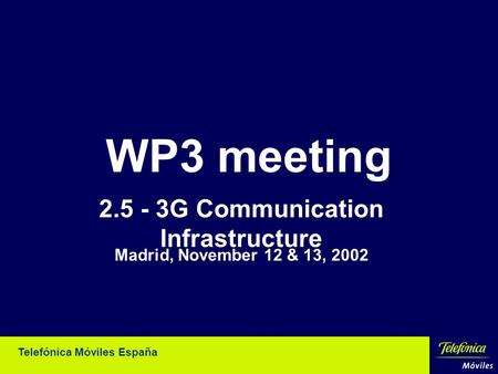 Telefónica Móviles España WP3 meeting 2.5 - 3G Communication Infrastructure Madrid, November 12 & 13, 2002.