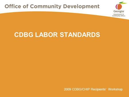 2009 CDBG/CHIP Recipients' Workshop CDBG LABOR STANDARDS.