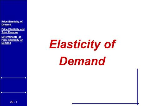 20 - 1 Price Elasticity of Demand Price Elasticity and Total Revenue Determinants of Price Elasticity of Demand Elasticity of Demand.