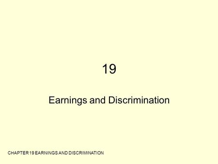 Earnings and Discrimination