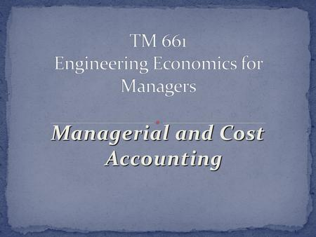 Managerial and Cost Accounting. Know the major differences between financial accounting and Managerial Accounting Given a set of factory overhead data,