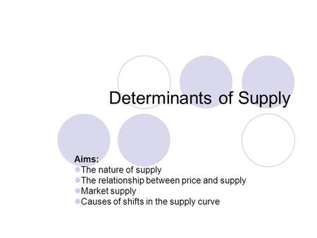 Determinants of Supply Aims: The nature of supply The relationship between price and supply Market supply Causes of shifts in the supply curve.